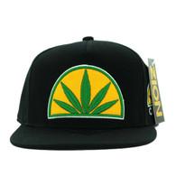 SM715 Marijuana Snapback Cap (Black & Black)