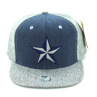 SM9012 Star Snapback Cap Hat (Navy & Grey)