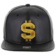 SM022 Dollar PU Snapback Cap (Solid Black - Gold Stitch)