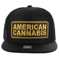 SM123 American Cannabis Snapback Cap (Solid Black)