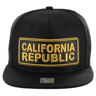 SM123 California Republic Snapback Cap (Solid Black)