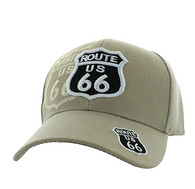 VM387 Kids Route 66 Velcro Cap (Solid Khaki)