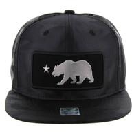 SM250 Cali Bear Snapback Cap (Solid Black Camo) - Silver Metal