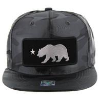 SM250 Cali Bear Snapback Cap (Solid Grey Camo) - Silver Metal