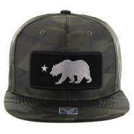 SM250 Cali Bear Snapback Cap (Solid Olive Camo) - Silver Metal