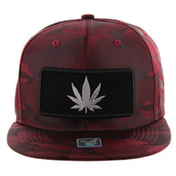 SM250 Marijuana Snapback Cap (Solid Burgundy Camo) - Silver Metal
