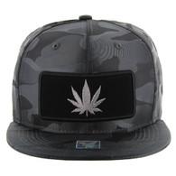 SM250 Marijuana Snapback Cap (Solid Grey Camo) - Silver Metal