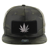 SM250 Marijuana Snapback Cap (Solid Olive Camo) - Silver Metal