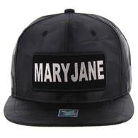 SM250 Mary Jane Snapback Cap (Solid Black Camo) - Silver Metal