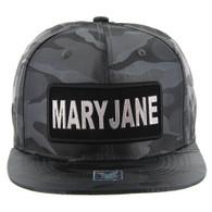 SM250 Mary Jane Snapback Cap (Solid Grey Camo) - Silver Metal