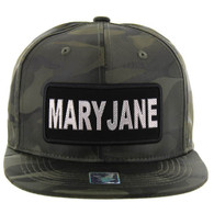 SM250 Mary Jane Snapback Cap (Solid Olive Camo) - Silver Metal