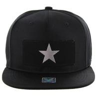 SM250 Star Snapback Cap (Solid Black) - Silver Metal