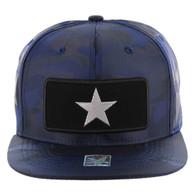 SM250 Star Snapback Cap (Solid Navy Camo) - Silver Metal