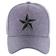 VM421 Big Star Velcro Hat (Solid Grey) - Stitch