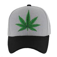 VM199 Marijuana Baseball Hat (Heather Grey & Black)