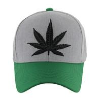 VM199 Marijuana Baseball Hat (Heather Grey & Kelly Green)