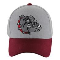 VM558 Bulldog Baseball Velcro Cap (Heather Grey & Burgundy)