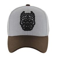 VM569 Pitbull Baseball Velcro Hat (Heather Grey & Brown)