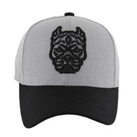 VM569 Pitbull Baseball Velcro Hat (Heather Grey & Black)