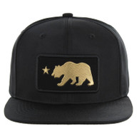 SM250 Cali Bear Snapback Cap (Solid Black) - Gold Metal