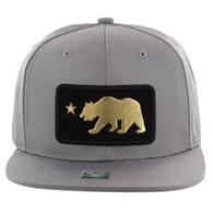 SM250 Cali Bear Snapback Cap (Solid Grey) - Gold Metal
