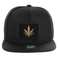 SM250 Marijuana Snapback Cap (Solid Black) - Gold Metal
