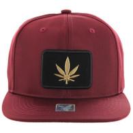 SM250 Marijuana Snapback Cap (Solid Burgundy) - Gold Metal