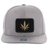 SM250 Marijuana Snapback Cap (Solid Grey) - Gold Metal