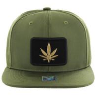 SM250 Marijuana Snapback Cap (Solid Olive) - Gold Metal