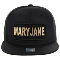 SM250 Mary Jane Snapback Cap (Solid Black) - Gold Metal
