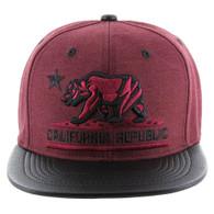 SM200 Cali Bear Snapback Cap (Burgundy & Black PU)
