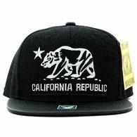 SM200 Cali Bear Snapback Cap (Black & Black PU)