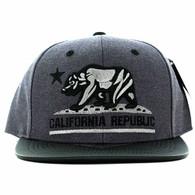 SM200 Cali Bear Snapback Cap (Charcoal & Black PU)
