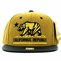 SM200 Cali Bear Snapback Cap (Mustard & Black PU)