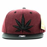 SM200 Marijuana Snapback Cap (Burgundy & Black PU)