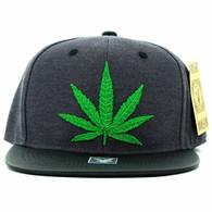 SM200 Marijuana Snapback Cap (Charcoal & Black PU)