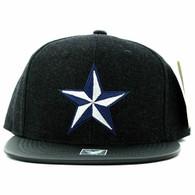 SM200 Star Snapback Cap (Black & Black PU)