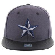 SM200 Star Snapback Cap (Charcoal & Black PU)