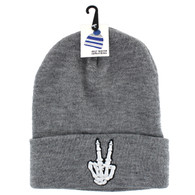 WB020 Finger Hang Peace Long Beanie (Solid Heather Grey)