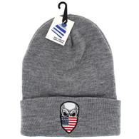 WB020 Skull USA Flag Long Beanie (Solid Heather Grey)
