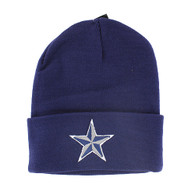 WB020 Star Long Beanie (Solid Navy)