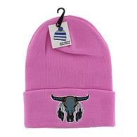 WB020 Buffalo Skull Long Beanie (Solid Light Pink)