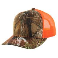 K815 Blank Classic Mesh Trucker Cap (Hunting Camo & Orange)