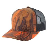 K815 Blank Classic Mesh Trucker Cap (Orange Hunting Camo & Black)