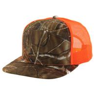 K707 7 Panel Mesh Trucker Cap (Hunting Camo & Hunting Camo & Orange)