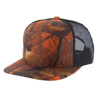 K707 7 Panel Mesh Trucker Cap (Orange Hunting Camo & Orange Hunting Camo & Black)