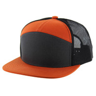 K707 7 Panel Cotton Mesh Trucker Cap (Charcoal & Burnt Orange & Black)
