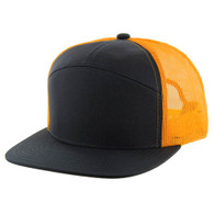 K707 7 Panel Cotton Mesh Trucker Cap (Black & Black & Gold)