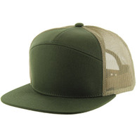 K707 7 Panel Cotton Mesh Trucker Cap (Olive & Olive & Khaki)