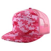 K707 7 Panel Mesh Trucker Hat (Pink Digital Camo & Pink Digital Camo & Pink)